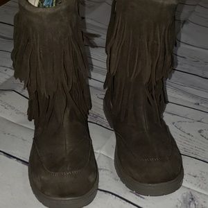 Roper brown leather fringe boots kids sz 1 euc